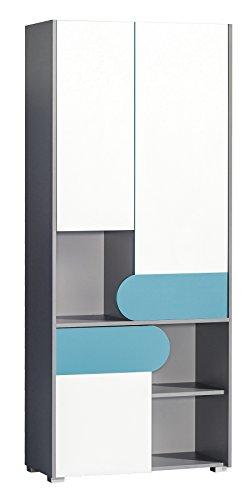 SMARTBett Kleiderschrank Futuro mit 3 Türen Farauswahl Türkis/Brillantweiß/Anthrazit