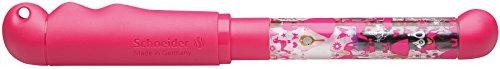 Schneider Füller Base Kid (Schreiblernfüller für Linkshänder mit druckstabiler Anfängerfeder, Made in Germany, Motiv: Prinzessin) pink-transparent