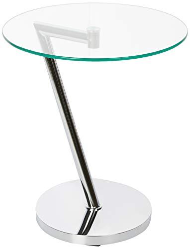 Relaxdays Glas u. Chrom, runder Beistelltisch f. Kaffee Tee, Ablage f. Garten HxBxT: 52 x 45 x 45 cm, Silber Kaffeetisch Edge, Metall, 45 x 45 x 52 cm