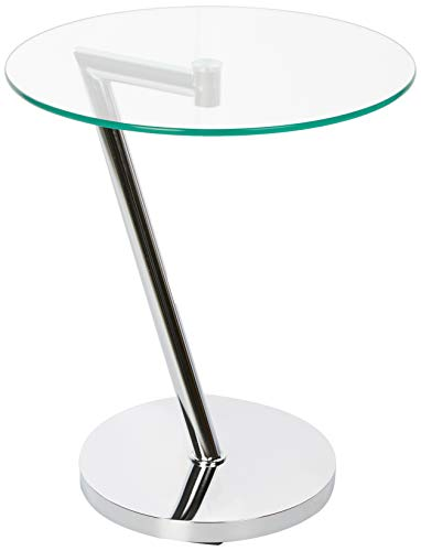 Relaxdays Mesa Auxiliar Redonda, Mesita Café, Cristal-Acero Cromado, 52 x 45 x 45 cm, Plateado, Plata