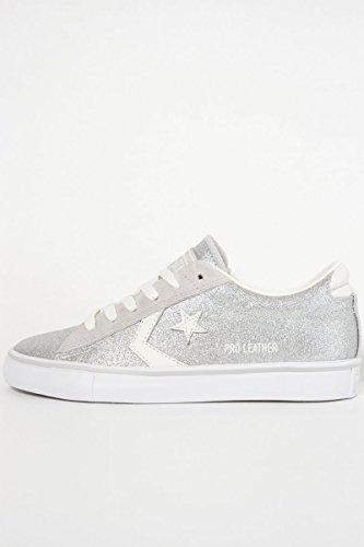 Converse Pro Leather in Pelle Glitter Argento