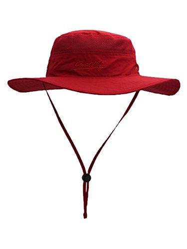 Outfly Damen Herren Outdoor Bucket Hut Fischer Hut Atmungsaktiv Schnelltrocknend Sonnenschutz - für Kopfumfang 55-60 cm Rot (Dschungel Hut Boonie)