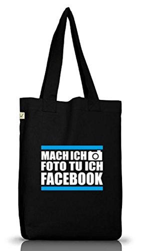 Shirtstreet24, MACH ICH FOTO TU ICH FACEBOOK, Jutebeutel Stoff Tasche Earth Positive (ONE SIZE) Black