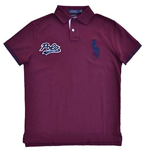Ralph Lauren Poloshirt Polo Big Pony Weinrot Red Custom Slim Fit Größe M -