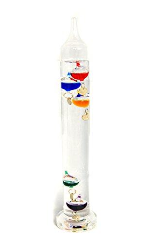 Stilvolles XL-Galileo-Thermometer aus echtem Glas, handgearbeitet, ca. 28cm hoch
