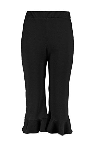 Femmes Noir plus isla pantalon jupe-culotte à ourlet volanté Noir