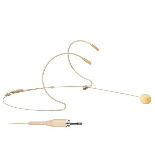 Samje Beige Pro Micro serre-tête double serre-tête micro serre-tête pour divers émetteurs sans fil Bodypack (prise jack mono filetée 3,5 mm)