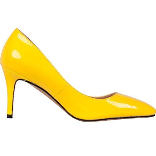 Calaier Femme Catalk Luxe Classique Designer Point Toe Talons Hauts Chaussures De Stiletto Pompes 7CM Aiguille Glisser Sur Escarpins Jaune