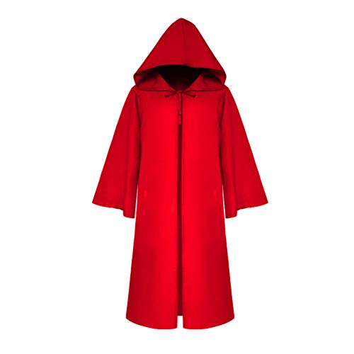 XIAMUSUMMER Langes Umhang Cape mit Kapuze Ritter Robe für Halloween Christmas Party Cosplay Medieval, Cape Vampir Kostüm Karneval Fasching, Rot (L) (Death Knight Cosplay Kostüm)