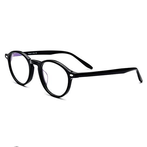 Yiph-Sunglass Sonnenbrillen Mode Herren Retro Brillen Acetat Fiber Full Frame Business Brillengestell Brillen mit klarer Linse. (Farbe : Schwarz)
