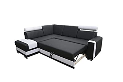 Corner Sofa Bed- Roma- Black -sleep Function, Bed Container - Fabric by Megan Furniture