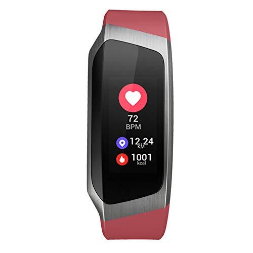 MSQL Fitness Tracker Farbbildschirm Smart Armband Herzfrequenz- und Schlafmonitor Wasserdichte Trainingsuhr für Android & iOS,red