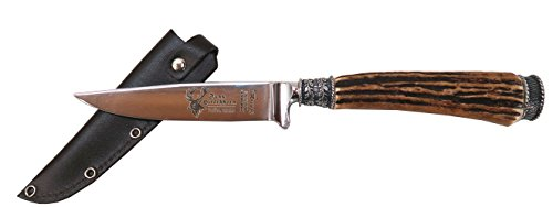Thüringer Hirschhornverarbeitung Trachtenmesser mit echtem Hirschhorngriff und Edelweiß