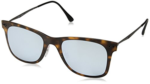 Ray Ban Herren Sonnenbrille Wayfarer Light Ray, Braun (Matte Havana/Grey Flash), One Size (Herstellergröße: 50)