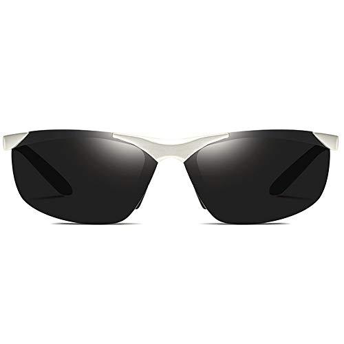 Silber/Grau/Schwarz Trend Männer und Frauen mit der gleichen Sonnenbrille Fahren Polarisierte Aluminium-Magnesium-Material Outdoor Riding UV400 Sonnenbrille Brille (Farbe : Silver)