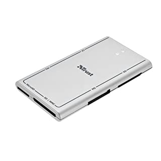 Trust All-in-One SlimLine Card Reader for All Digital Memory Cards SD, MicroSD, MS cards, CF cards, XD cards and MMC cards