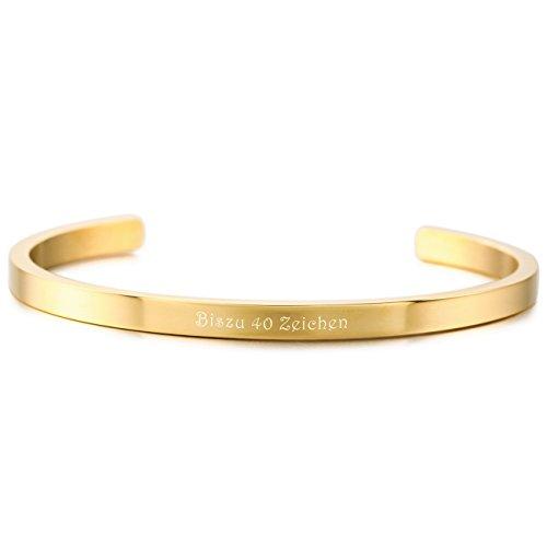 MeMeDIY Golden Ton Edelstahl Armband Armreifen Handgelenk Manschette Gravur (Dünne Armbänder Gold Armreifen)