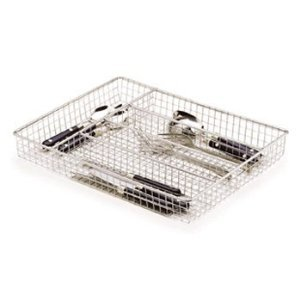 CHROME WIRE UTENSIL CUTLERY TRAY DRAWER BASKET