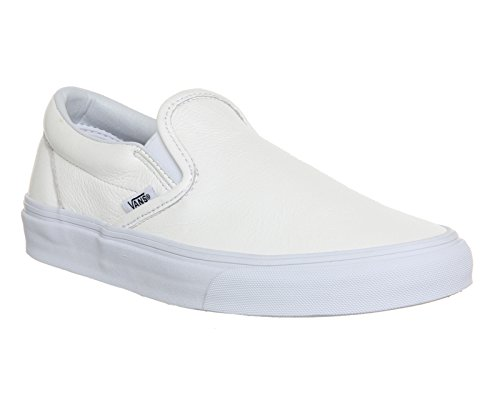 Vans U Classic Slip-on, Baskets mode mixte adulte Premium Leather White Mono