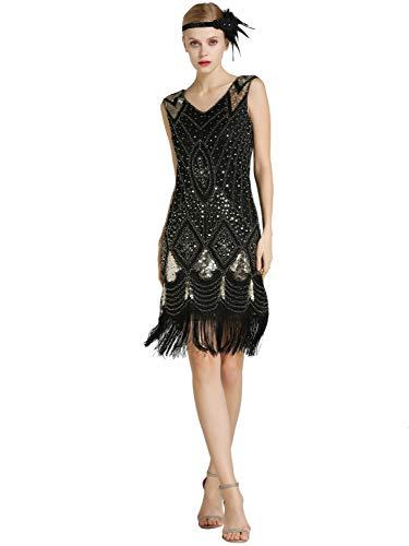 Kaiyei Donne 1920 s Grande Gatsby Vestito Sequins in Rilievo Vestito da  Ballo Latino per Le 122600bfd1e