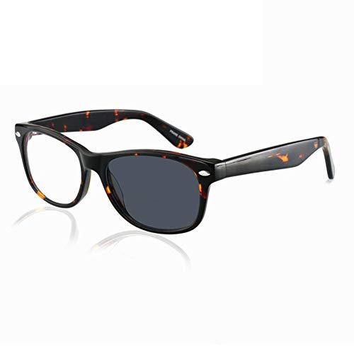 Eyetary Bifokale Lesebrille für Männer Frauen - Photochrome Sonnenbrillenleser, Acetat Quadratischer Rahmen/dünne Flache Linse/Blendschutz/Vergrößerung 1,0 bis 3,00 Intensität,Tortoiseshell,+1.5
