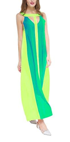 Donna Vestiti Lunghi Chiffon Eleganti Estivi Senza Spalline Vestito Da Cerimonia Allentato Swing Abito Moda Giovane Da Giorno Colori Misti Spiaggia Donne Moda Maxi Abiti Sundresses Verde
