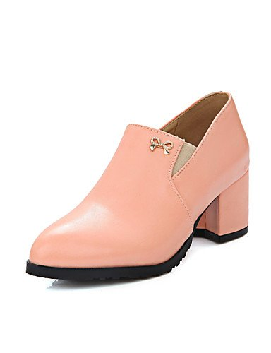 WSS 2016 Chaussures Femme-Habillé-Noir / Rose / Amande-Gros Talon-Talons / Bout Arrondi-Talons-Similicuir pink-us6.5-7 / eu37 / uk4.5-5 / cn37