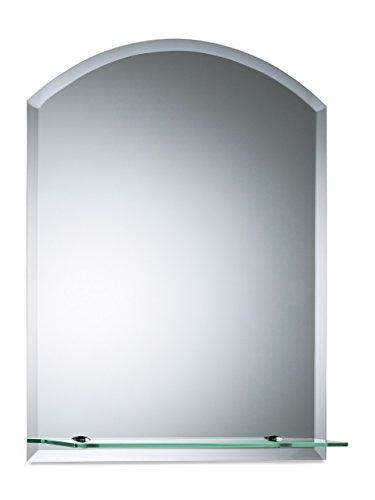 Bellissimo specchio da bagno ad arco con mensola, moderno ed elegante, doppio vetro, angoli smussati, da parete 50cm x 40cm