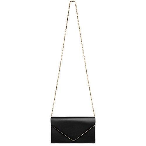 CASPAR TA413 Damen elegante Envelope Clutch Tasche / Abendtasche mit langer Kette Schwarz