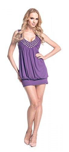 Glamour Empire Femme Mini Robe boule top tunique avec studs sans manches 024 Pourpre