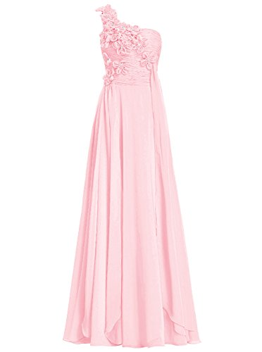 Dresstells Damen Bodenlang Chiffon One Shoulder Brautjungfernkleider Abendkleider Rosa
