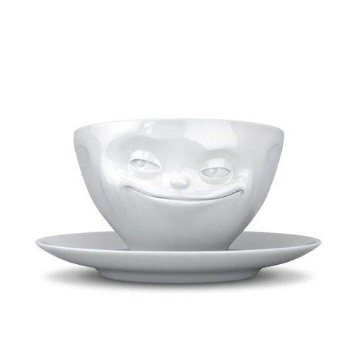 TV Tasse Espressotasse mit Untertasse grinsend Porzellan weiß