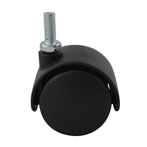 4er Set MS Beschläge® Möbelrolle Hartbodenrolle Lenkrolle ø 45mm aus Kunststoff mit Gewindestift -