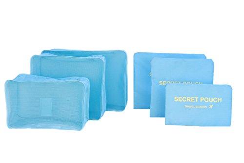 6 buste impermeabili, per vestiti e oggetti, di forma squadrata, ideali per viaggio blu LightBlue