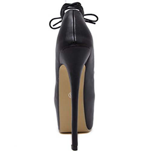 Oasap Women's Platfrom Ankle Lace-up High Heels Party Pumps Black