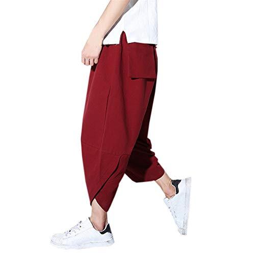 Dorical Herren Neun-Length Lang Pants/Männer Mid Taille Oversize Lose Sporthose/Freizeithose/Lose Slim Fit Casual Pants Hosen Sommer/Sommerhosen/Freizeit Hose Sale(Rot,Medium)