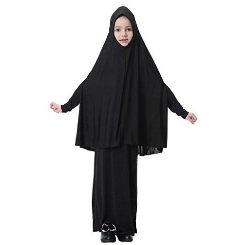 aya Muslimische Kleider Kinder Abaya Kleider Robe Kleid Arabische Muslime Islam Ganzkörperansicht Maxi Jersey Kleider Gebet Kleid Nahen Osten Traditionelle Kleidung - Schwarz, L ()