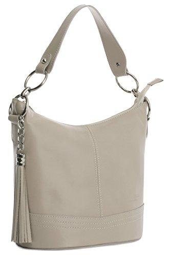 cdad809894a05 Big Handbag Shop mittelgroße Damen Schultertasche aus echtem Leder mit  Obergriff und Bucketform beige