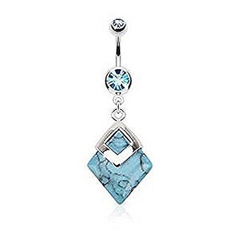 Turquoise Pierres semi-précieuses montées Diamant Barre de ventre Piercing Epaisseur: 1.6mm Longueur: 10mm Matériel: Acier chirurgical