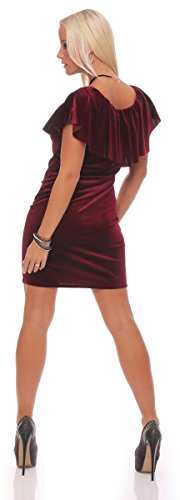 10778 Fashion4Young Damen Minikleid Samtkleid Kleid Samt dress Kurzarm Kleid Gr. 36/38 4 Farben Weinrot