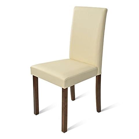 SAM® Polster-Stuhl Billi, Esszimmer-Stuhl, Lederimitat, creme, massive Holzbeine in Kolonial, Design-Stuhl, Küche und Esszimmer