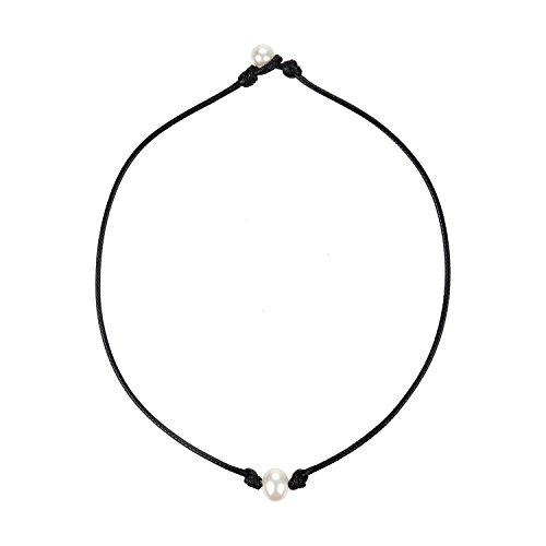 Legitta Damen Halskette Choker Leder Kette mit Anhänger Süßwasser Zuchtperle Perlen 10mm-EA0021-14