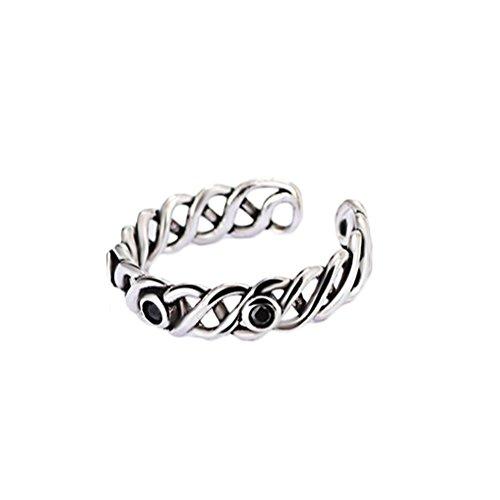 Cdet Damen Ring Retro Thai Silber Strickknoten Ring Schwarzer Achatdiamant Offener Ringe Mode-Accessoires Geburtstag Valentinstag ()
