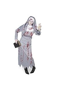 Karnival Costumes- Halloween Zombie Nun Disfraz, Color gris, extra-large (84048)