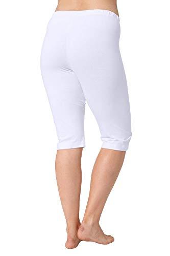 Ulla Popken Damen große Größen bis 68   Leggings   Capri-Hose, einfarbig, pflegeleicht und bequem   3/4-Länge   weiß 66/68 667862 20-66+ (Größe Hose Super Plus)