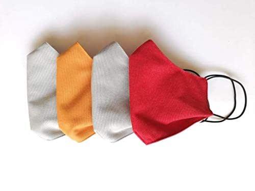 4 pz mascherine-fasce lavabili protettive bocca-naso, grigie/colorate - 3 strati di tessuto - tessuto esterno lavabile antigoccia + 2 strati di tessuto in cotone con tasca porta-filtro