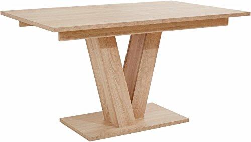 CAVADORE Esszimmertisch DAVID,Ausziehbarer Esstisch,Moderner Säulentisch in Eichenholz Optik mit Auszugsfunktion,160cm-200cm x 90cm x 75cm (LxBxH)