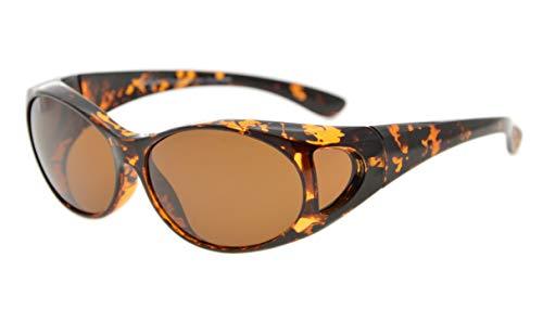 Eyekepper Sonnen-Überbrille | Überzieh-Sonnenbrille | UV 400 polarisiert für Brillenträger | Polbrille (Bernstein Schildkröte/Braun Linsen)