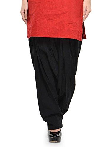 Stylenmart Women Cotton Solid Full Patiala Salwar (Stmapa078619 _Black _Free Size)