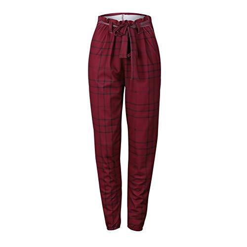 Duevin Pantalones Casuales británicos de la Vendimia de Las Mujeres, Pantalones Delgados a Cuadros Rojos Atractivos, Pantalones recortados(M)